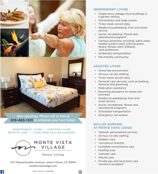 Housekeeping Openings Independent Living Monte Vista Village Lemon Grove Ca