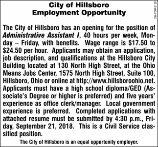 Administrative Assistant Administrative Assistant City Of Hillsboro Hillsboro Oh