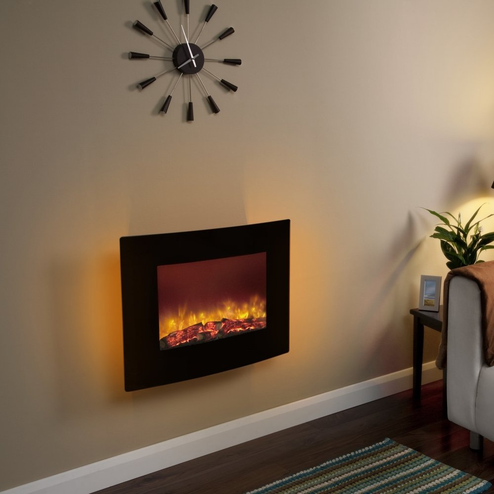 Curved Electric Fireplace Curved Black Glass 25 Wall Mounted Electric Fire Wall Mount