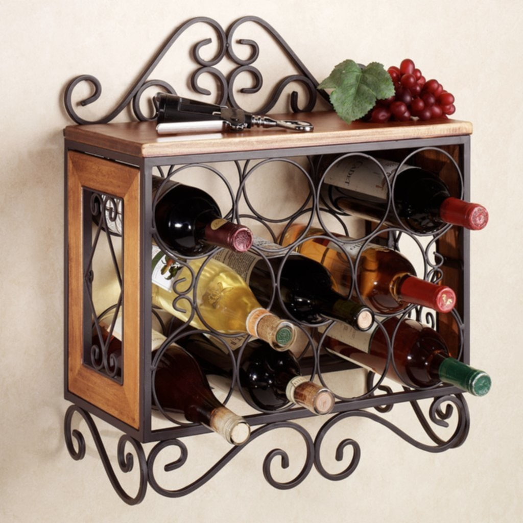Decorative Metal Wine Racks Corner Wine Rack Wood Furniture Natural Long Brown Wooden Easy