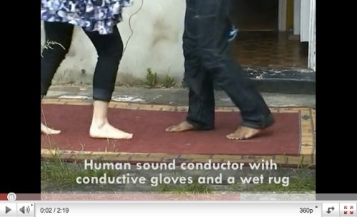 Human sound conductor with gloves (link to youtube)