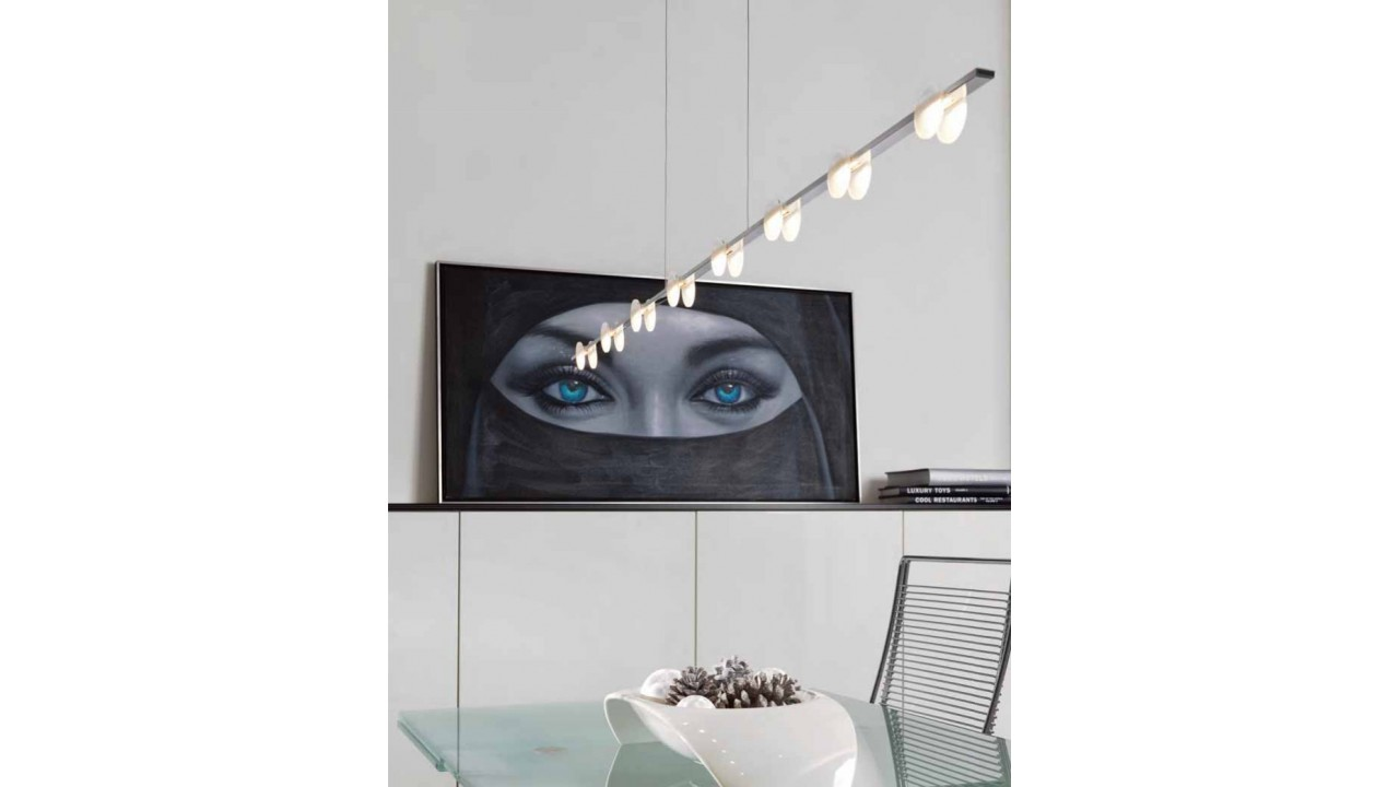 Suspension Moderne Suspension Moderne Chrome Et Verre 8 Led Mary Pas Cher