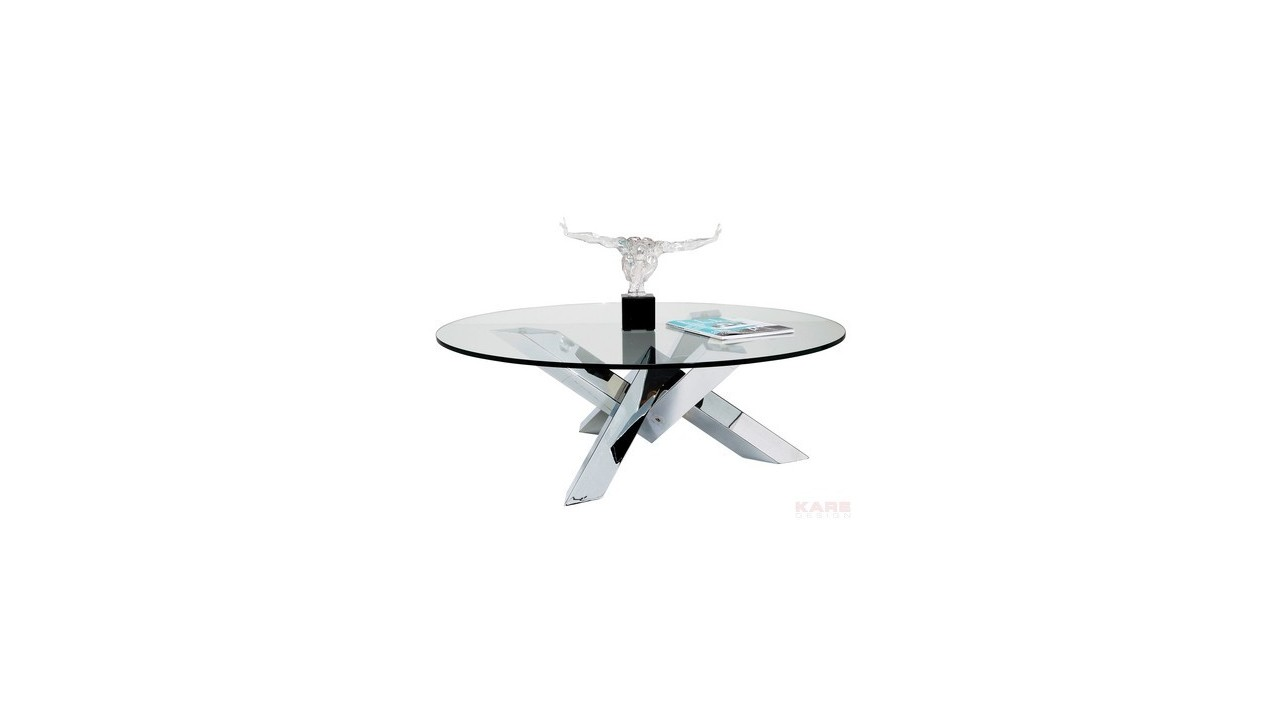 Table Basse Ronde En Verre Design Table Basse Crystal Design Ronde Chrome Verre 105 Cm Pas Cher