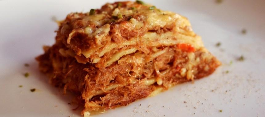 Lasagne au confit de canard, pleurotes et tomates cerises