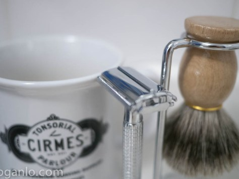 Traditional double-edged razor, shaving mug, shaving brush, and stand