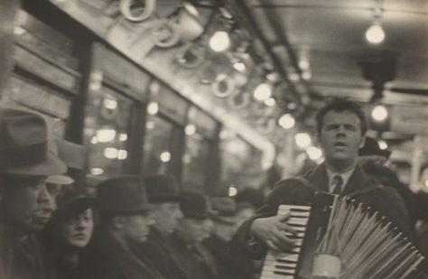 Walker Evans - Man with accordion in Subway
