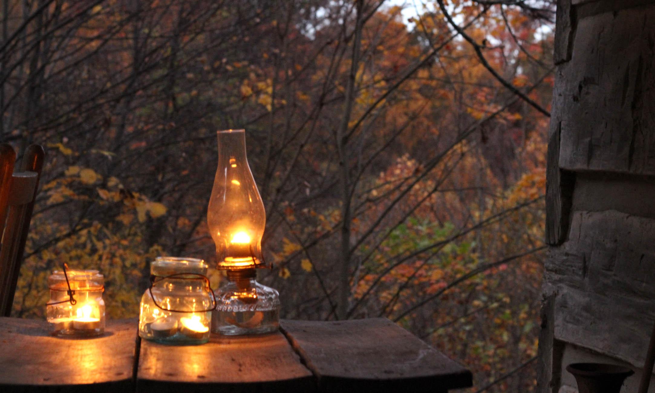 Cozy Fall Wallpaper Lanterns Lit Log Cabin Cooking