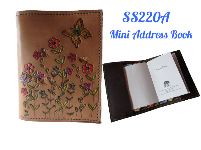 Womens Leather Accessories Mini Address Book ~ Log Cabin Leather by Jan