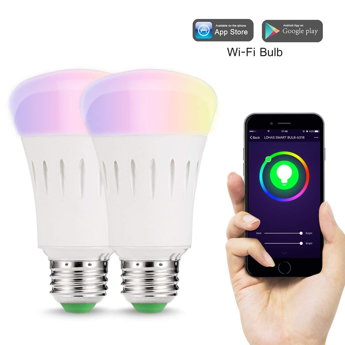 Led Lampen E27 Lohas 9w E27 Wlan Multi Farbe Smart Led Lampen Amazon De