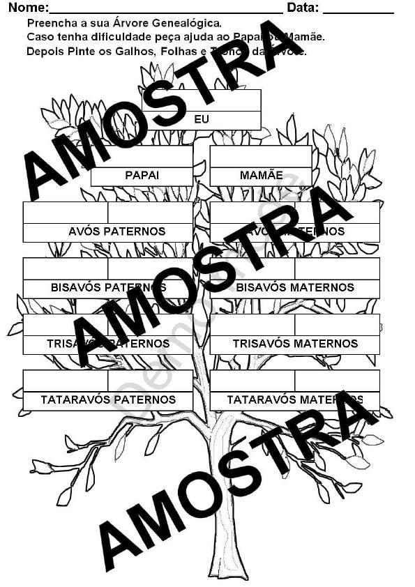 Atividade Para Imprimir Árvore Genealógica