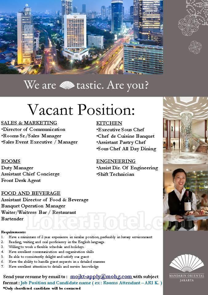 job vacancy mandarin oriental jakarta