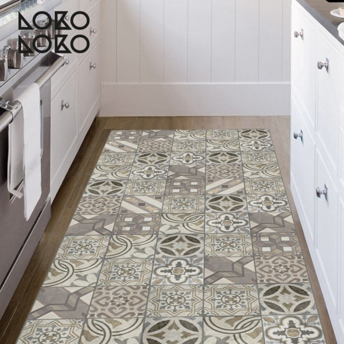 Suelo Tarima Leroy Decorative Vinyl Of Hydraulic Tiles For Kitchen Floor