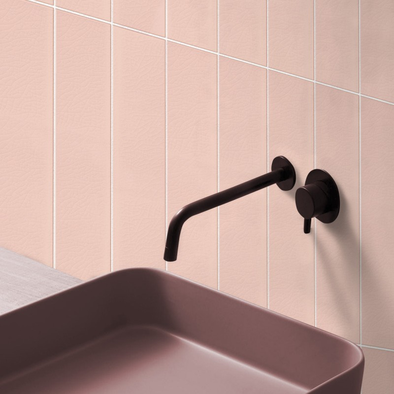 Vertical Pink Tiles White Joints Washable Self Adhesive Vynil For Walls And Floor