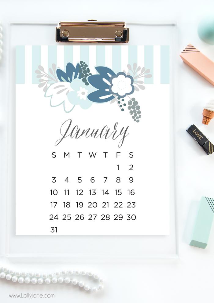 2016 free printable calendar - Lolly Jane