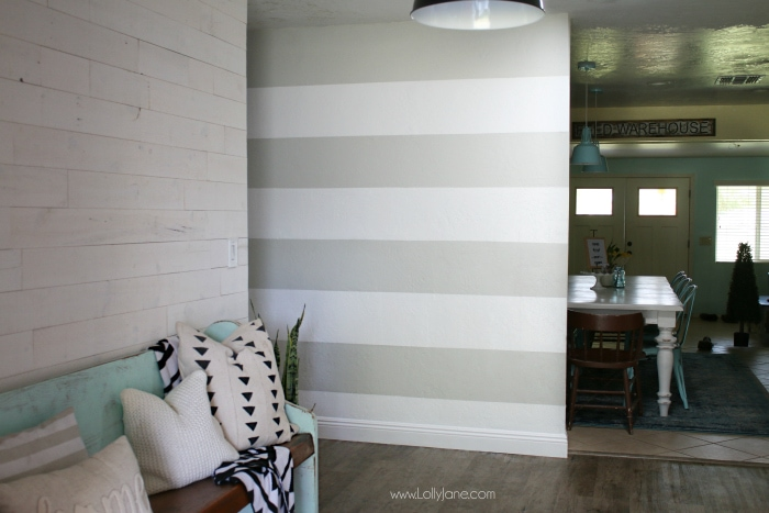 Diy Striped Accent Wall With Gray White Stripes