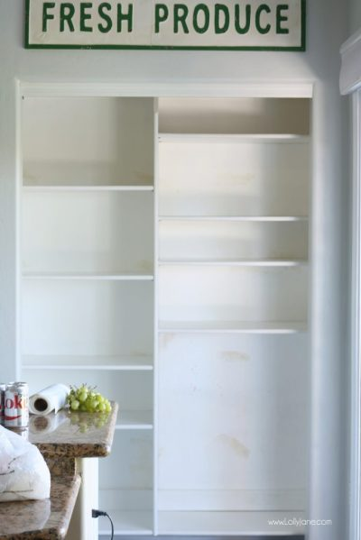 Easy Pantry Faux Wallpaper Makeover - DIY Panty Wallpaper