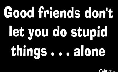 Friends Don't Let You Do Stupid Things... Alone
