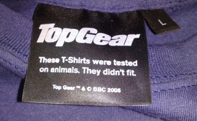 This t-shirt was tested on animals.