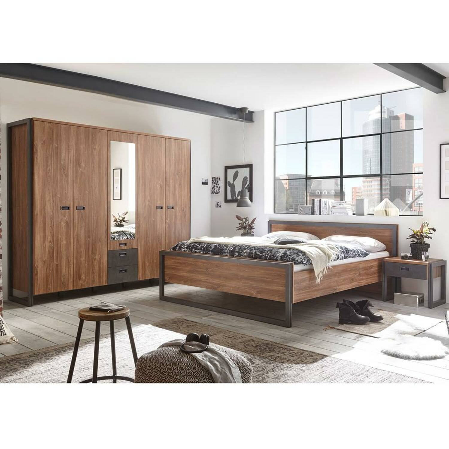 Schlafzimmer Set Anthrazit Schlafzimmer Dallas 61 Im Industrial Stil Komplett Set Dekor Stirling Oak Nb Und Matera Anthrazit B H T Ca 393x202x60 209cm