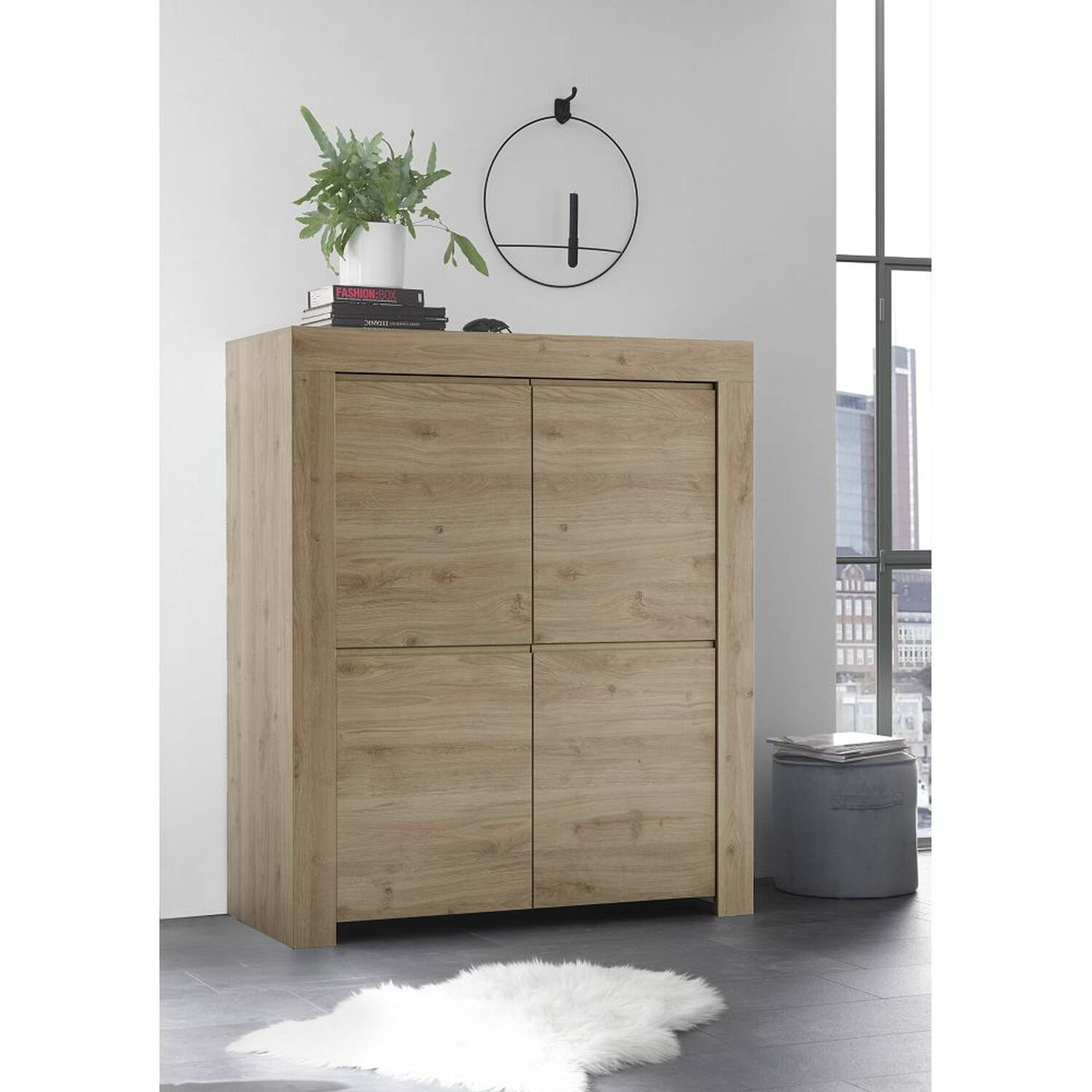 Esszimmer Highboard Wohn Esszimmer Highboard Farum 63 In Eiche Cadiz Nb Griffloses Design B H T 110 140 42cm