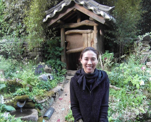 Jihae Hwang in front of her Haewooso garden at Chelsea 2011