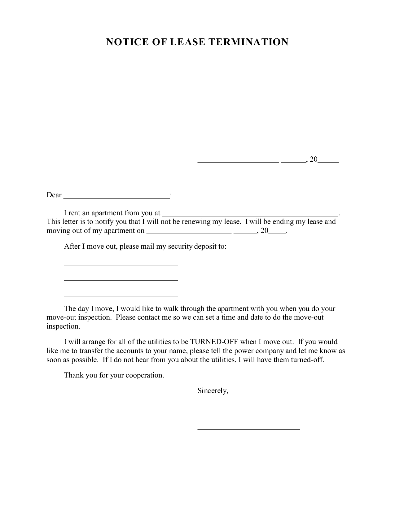 sample letter to tenant not renewing lease
