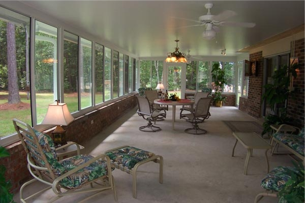 Home Builders In Fort Worth Sunroom With Brick Kneewall - Lone Star Patio