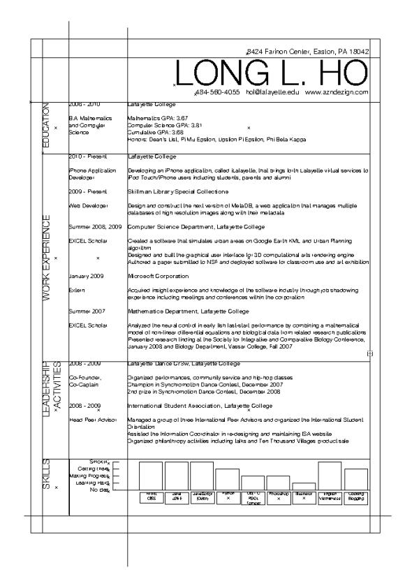 resume layout margins