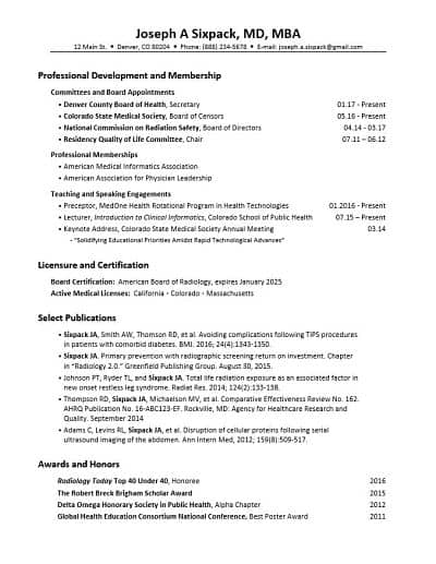 Resume template for non-clinical physicians Look for Zebras