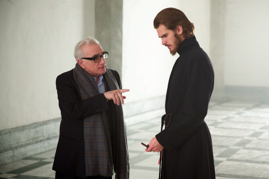 Director Martin Scorsese and Andrew Garfield on the set of SILENCE.