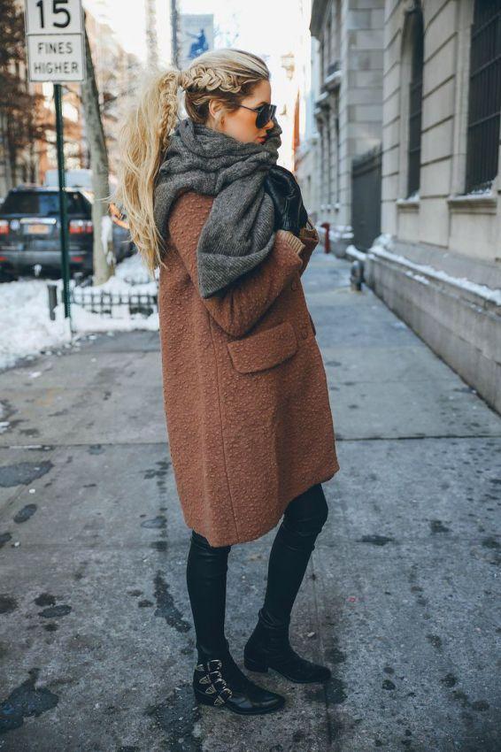 шарф оверсайз лук с пальто