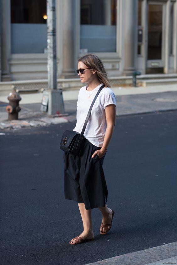 красивые черные кюлоты брюки фото