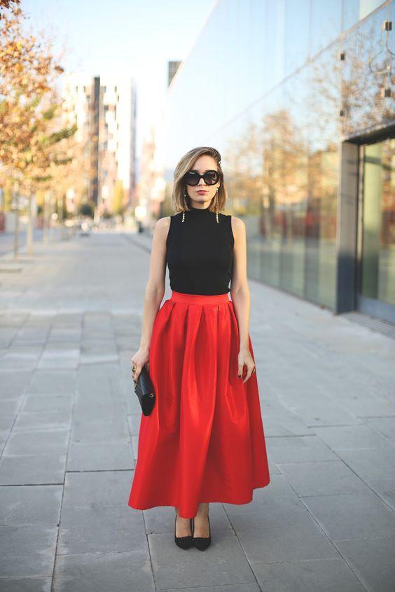 длинная красная юбка-тюльпан