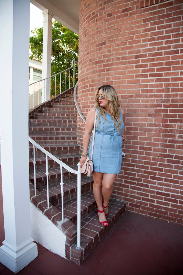 bbdakota, shopbop, ootd, online women's boutique, 4th of july, 4th of july look, 4th of july outfit, 4th of july ootd, bbdakota at shopbop, chambray dress