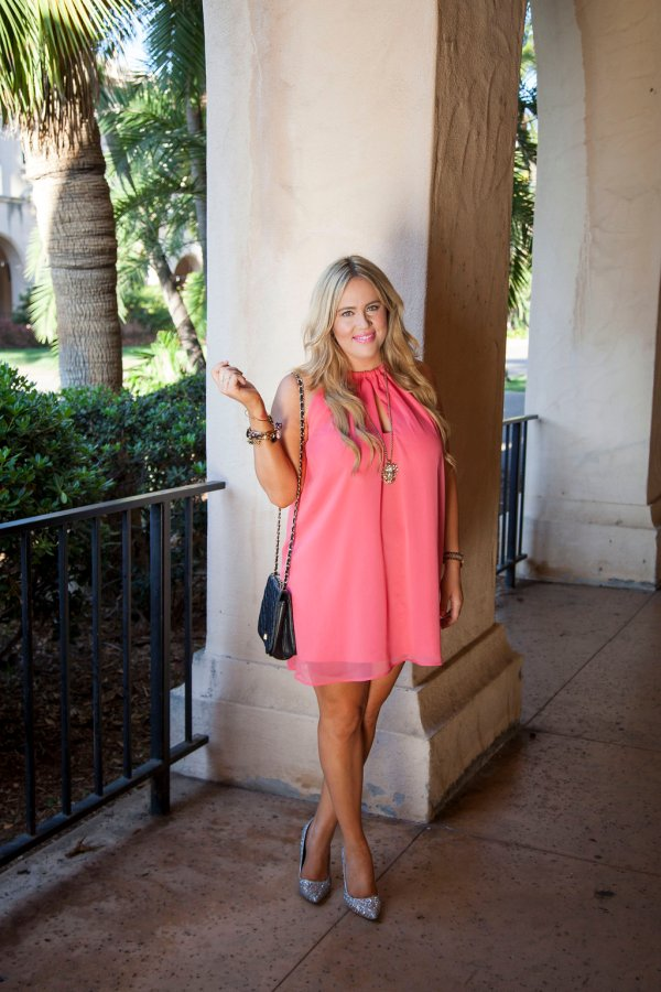 shop bop, shopbop, cupcakes and cashmere, cupcakes and cashmere dress, pink dress, flowy dress, pink flowy dress, birthday dress, birthday ootd, summer dress, sparkle heels, sparkle ootd, women's online boutique, trendy women's online boutique