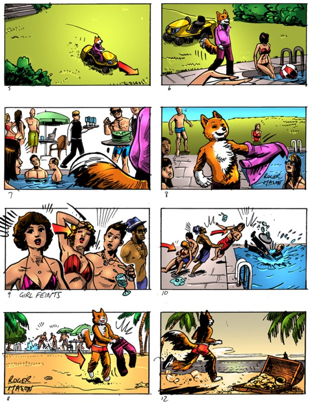 foxy bingo_colour storyboard_storyboard artist london_roger mason_animal drawings_foxes_pool party
