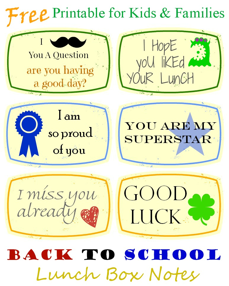 Back to School Lunch Box Notes #kidsinthekitchen