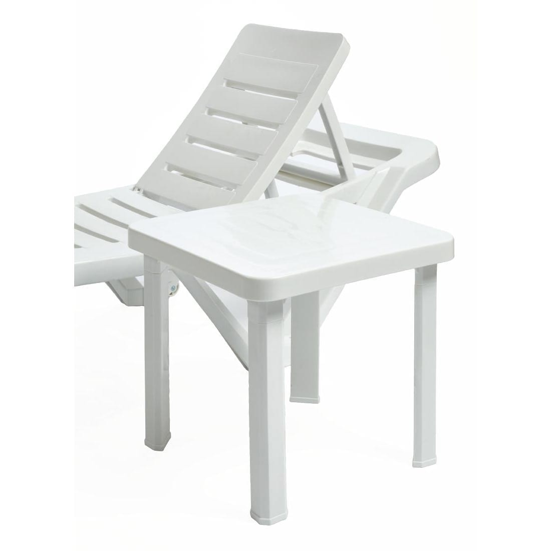 White Plastic Sun Loungers Resol Sun Lounger Side Table Polypropylene Pack 6