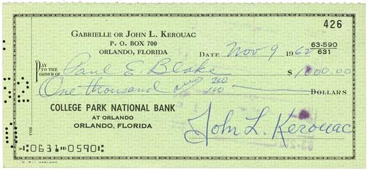 KEROUAC, Jack - Signed Check Ken Lopez Bookseller