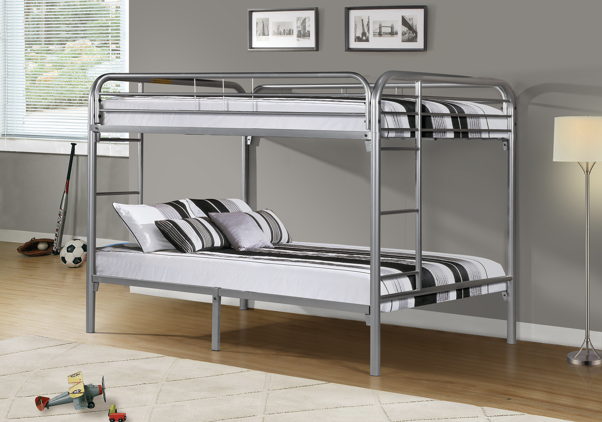 Double Bunk Beds I 2233s Silver Metal Double Double Bunk Bed Frame