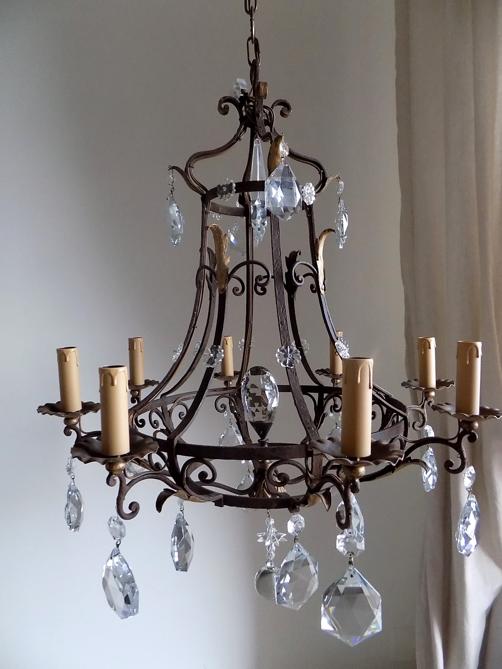 Wrought Iron Rectangular Chandelier Antique French Massive Hand Forged Wrought Iron Chandelier