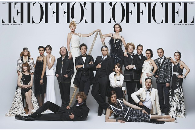 Karl Lagerfeld shoots the gatefold cover of L'Officiel October 2013 Issue