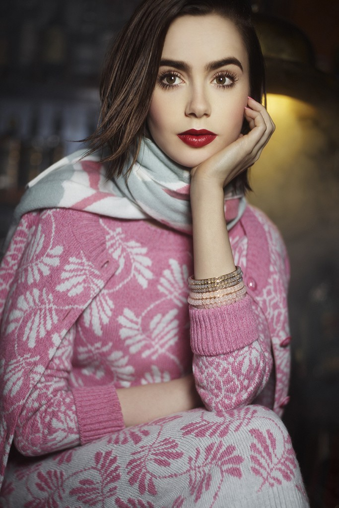 Lily Collins for Barrie Knitwear (Chanel - owned House)