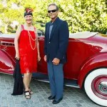 Karen Duncan poses with a 20's car