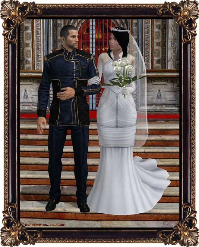 Married Couple Wallpaper With Quotes Commander Shepard Wedding Photo