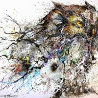 Paint Splatters Used to Depict Night Owl