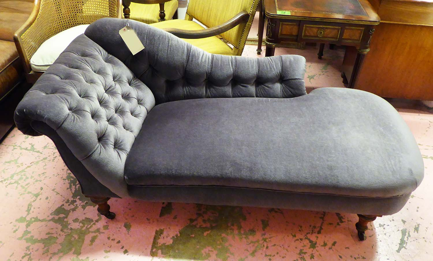 La Chaise Longue Catalogue Chaise Longue Victorian Walnut Re Upholstered In Grey Buttoned
