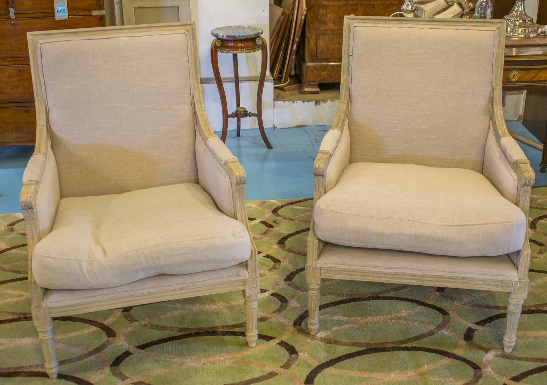 Fauteuils A Pair French Louis Xvi Style Traditionally Grey Painted With Natural Linen Upholstery And Seat Cushion 2