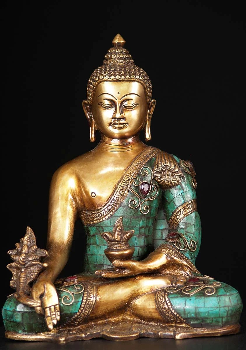300/20 Sold Medicine Buddha Brass Statue With Stones 10
