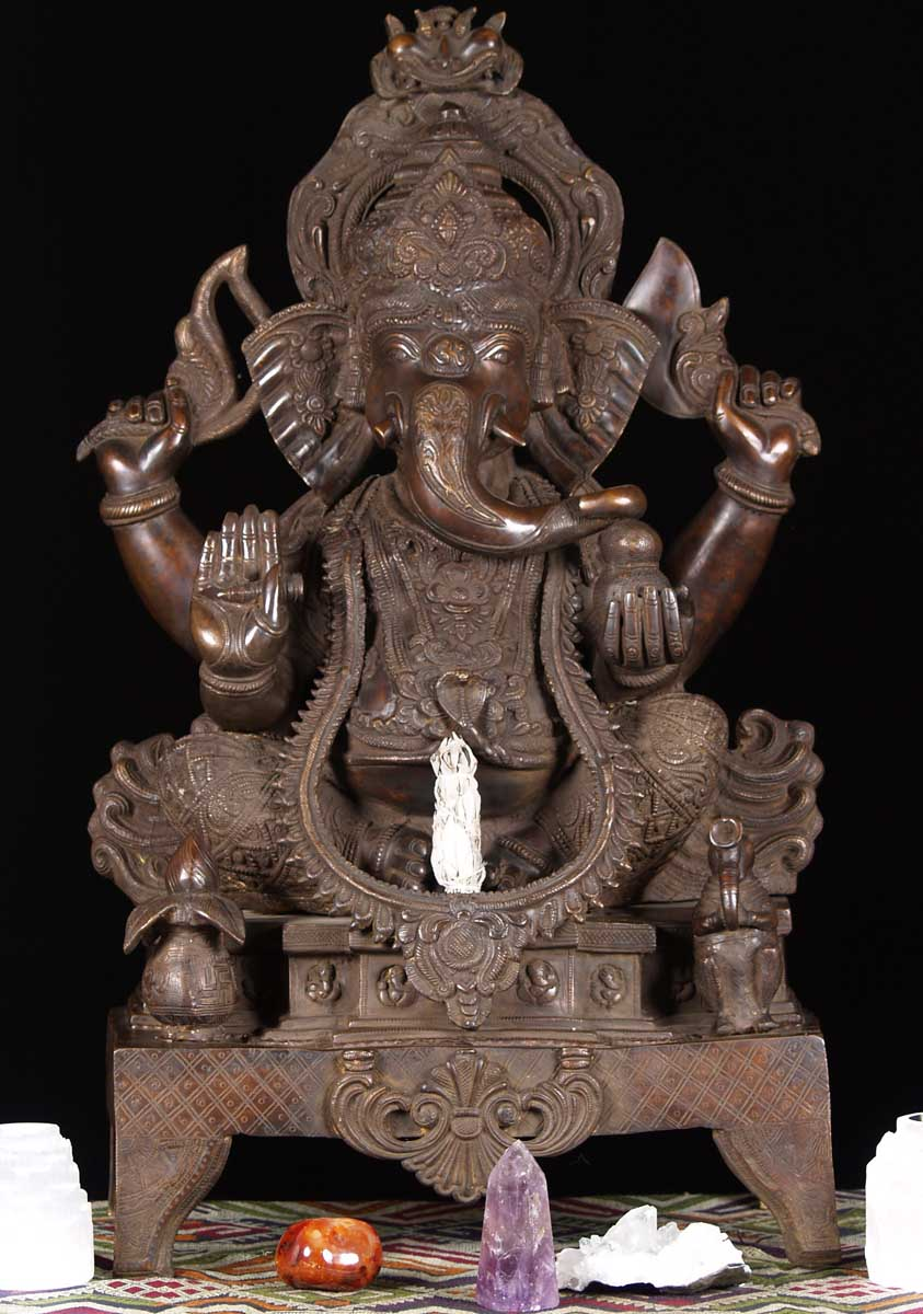 "300/20 Sold Brass Large Ganesh Statue On Throne 34"" (#61bs63"